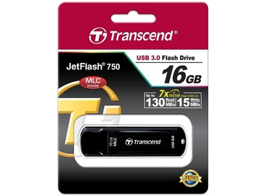 USB флеш-накопитель TRANSCEND JetFlash 750 16GB USB 3.0, MLC, Black (TS16GJF750K)